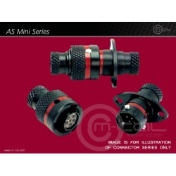 Deutsch Autosport AS Mini Connector 3 Way Shell Size 07 Pin Layout 07-98 Style 0 Flange Receptacle Red N Keyway Pins Standard