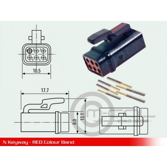 MC03-ASC105-06SN - Deutsch Autosport ASC Composite Connector 6 Way Shell Size 05 Pin Layout 05-06 Style 1 Inline Receptacle Red N Keyway Sockets Standard
