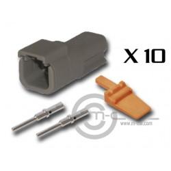Connector DTM 2 Way Male Kit - Bag 10 Connectors