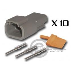 Connector DTM 3 Way Male Kit - Bag 10 Connectors