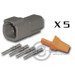 Connector DTM 4 Way Male Kit - Bag 5 Connectors
